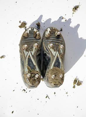 Photograph - Pair Of Muddy Football Boots - Studs by Ashley Jouhar