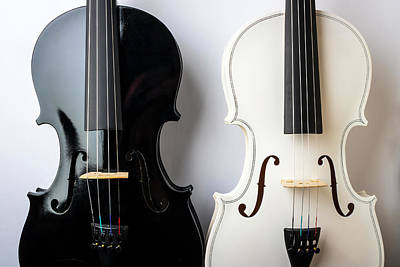 Photograph - Pair Of Violins Black And White by Garry Gay
