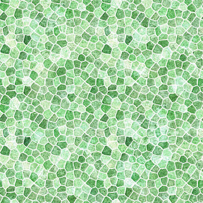 Digital Art - Pale Emerald And Pistachio Cobbled Patchwork by Taiche Acrylic Art