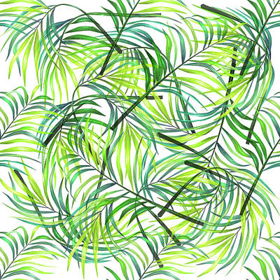 Mixed Media Royalty Free Images - Palm Leaf Pattern 1 - Tropical Leaf Pattern - Green, White - Tropical, Botanical Pattern Design Royalty-Free Image by Studio Grafiikka