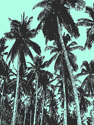 Digital Art - Palm Trees In Black And Blue by Nigel Sutherland