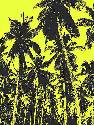 Digital Art - Palm Trees In Black And Yellow by Nigel Sutherland