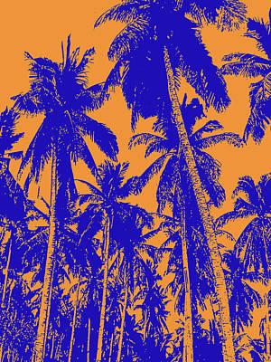 Digital Art - Palm Trees In Blue And Orange by Nigel Sutherland