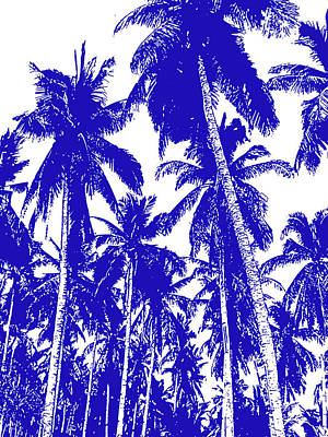 Digital Art - Palm Trees In Blue And White by Nigel Sutherland