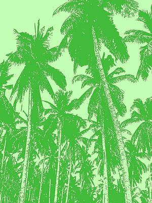Digital Art - Palm Trees In Dark And Light Greens by Nigel Sutherland