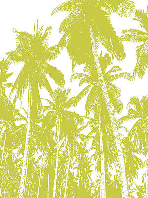 Digital Art - Palm Trees In Gold And White by Nigel Sutherland