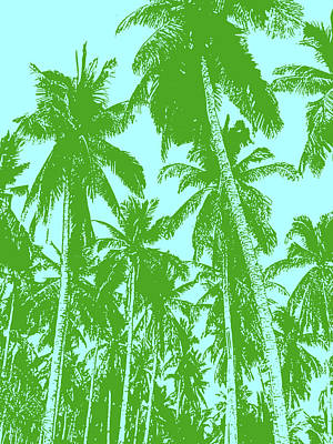 Digital Art - Palm Trees In Green And Blue by Nigel Sutherland