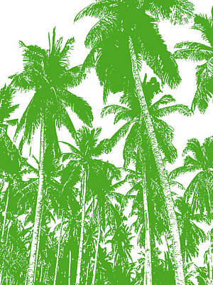 Digital Art - Palm Trees In Green And White by Nigel Sutherland