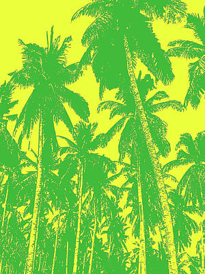 Digital Art - Palm Trees In Green And Yellow by Nigel Sutherland