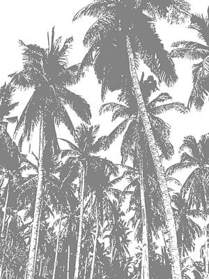 Digital Art - Palm Trees In Grey And White by Nigel Sutherland