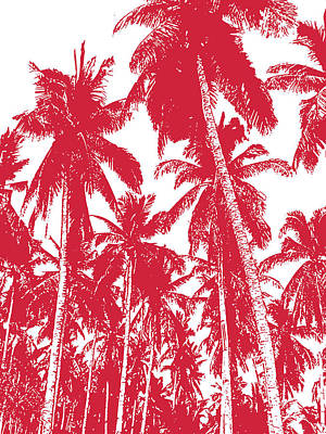 Digital Art - Palm Trees In Red And White by Nigel Sutherland