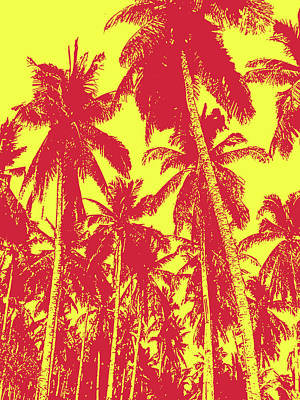 Digital Art - Palm Trees In Red And Yellow by Nigel Sutherland