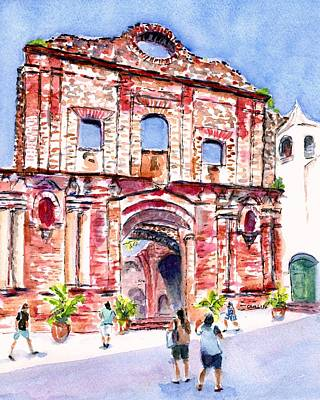 Painting - Panama Church Of Santo Domingo by CarlinArt Watercolor
