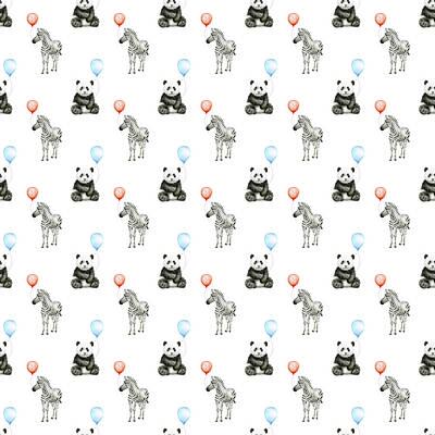 Panda Wall Art - Painting - Panda And Zebra With Balloons Pattern by Olga Shvartsur