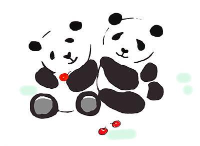 Painting - Panda Love by Steven Clarke