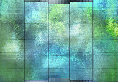Digital Art - Panels - Coral Turquoise And Teal by Jason Fink