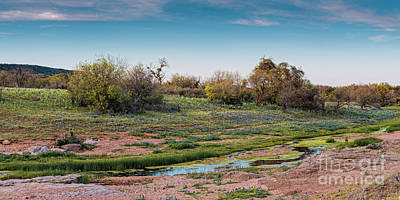 Photograph - Panorama Of Creek Running Through Ship Hollow At Willow City Loop  Fredericksburg Texas Hill Country by Silvio Ligutti