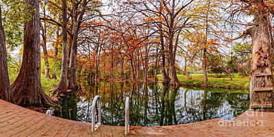 Photograph - Panorama Of Fall Scene At Blue Hole Regional Park - Wimberley Hays County Texas Hill Country by Silvio Ligutti