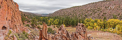 Photograph - Panorama Of Frijoles Canyon And Changing Cottonwoods - Bandelier National Monument New Mexico by Silvio Ligutti