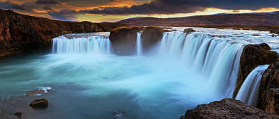 Photograph - Panorama Of Goðafoss Waterfall At by Anna Gorin