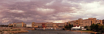 1-war Is Hell - Panorama of Ominous Storm Clouds Over Lake Las Vegas - Henderson Nevada  by Silvio Ligutti