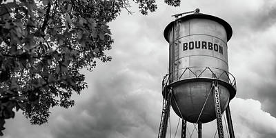 Watercolor Typographic Countries - Panoramic Bourbon Water Tank - Black and White Edition by Gregory Ballos