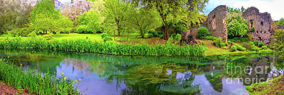 Fantasy Royalty-Free and Rights-Managed Images - Panoramic Dream River Enchanted Castle Ruins Garden Fairy Tale Nymph Garden by Luca Lorenzelli