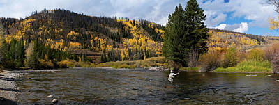 Colorado Fly Fishing River Wall Art - Photograph - Panoramic Image Of A Woman Fly-fishing by Skibreck