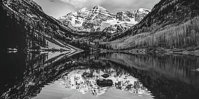 Photograph - Panoramic Mountain Landscape Of The Maroon Bells - Monochrome Edition by Gregory Ballos