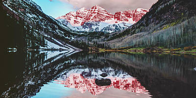 Photograph - Panoramic Mountain Sunrise On The Colorado Maroon Bells by Gregory Ballos