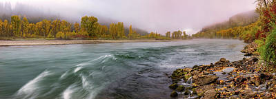 Photograph - Panoramic River Autumn by Leland D Howard