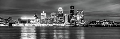 Photograph - Panoramic Skyline Of Louisville Kentucky At Dusk - Monochrome by Gregory Ballos