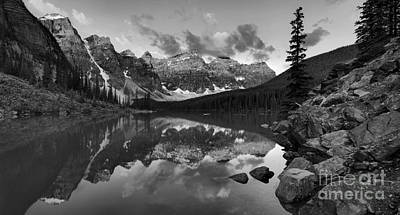 Photograph - Panoramic Sunrise At Moraine Lake Black And White by Adam Jewell