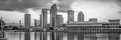Just Desserts - Panoramic Tampa Bay Florida Skyline in Monochrome by Gregory Ballos