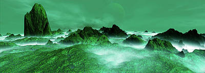 Digital Art - Panoramic View. Evergreen. Digitally by Raj Kamal