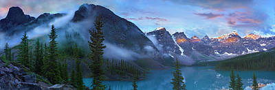 Photograph - Panoramic View Of Wenkchemna Peaks And by Tim Fitzharris/ Minden Pictures
