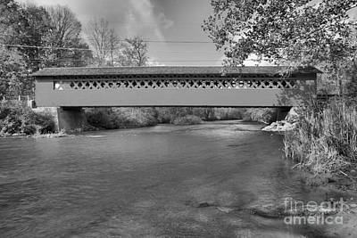 Photograph - Paper Mill Covered Bridge Black And White by Adam Jewell