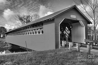 Photograph - Paper Mill Vilage Bridge Black And White by Adam Jewell