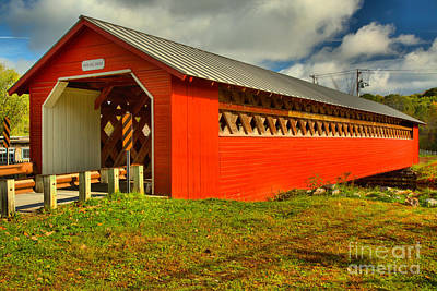 Photograph - Paper Mill  Village Covered Bridge by Adam Jewell