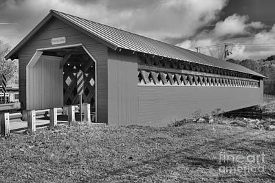 Photograph - Paper Mill Village Covered Bridge Black And White by Adam Jewell