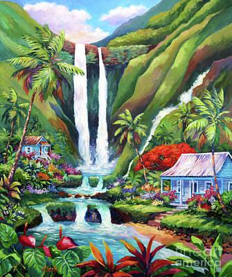 Oahu Wall Art - Painting - Paradise Falls by John Clark