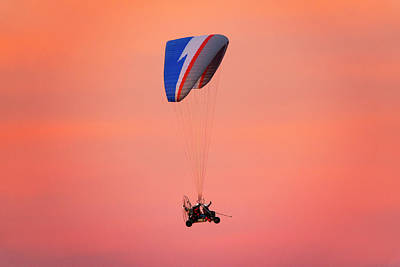 Photograph - Paragliding In The Sunset by Fabrizio Troiani
