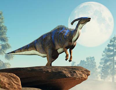 Lego Art - Parasaurolophus Howling at the Moon by Daniel Eskridge