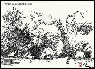 Drawing - Parc Buttes Chaumont by Javier Gonzalez de Castejon