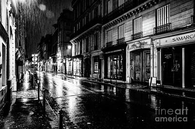 Paris At Night - Rue Saints Peres Art Print