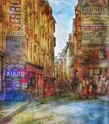 Painting - Paris Boulevard Saint Germain 1866 by Vincent Monozlay