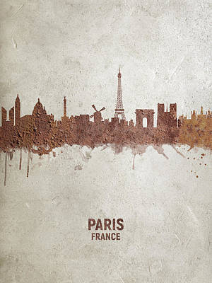 Digital Art - Paris France Rust Skyline by Michael Tompsett