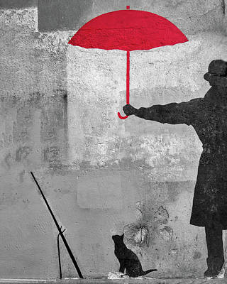 Photograph - Paris Graffiti Man With Red Umbrella by Gigi Ebert