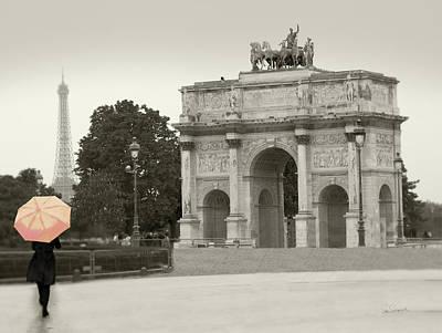 Arc De Triomphe Du Carrousel Wall Art - Painting - Paris In The Rain I by Sue Schlabach