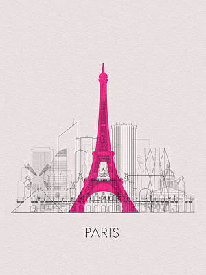 Digital Art - Paris Landmarks by Inspirowl Design